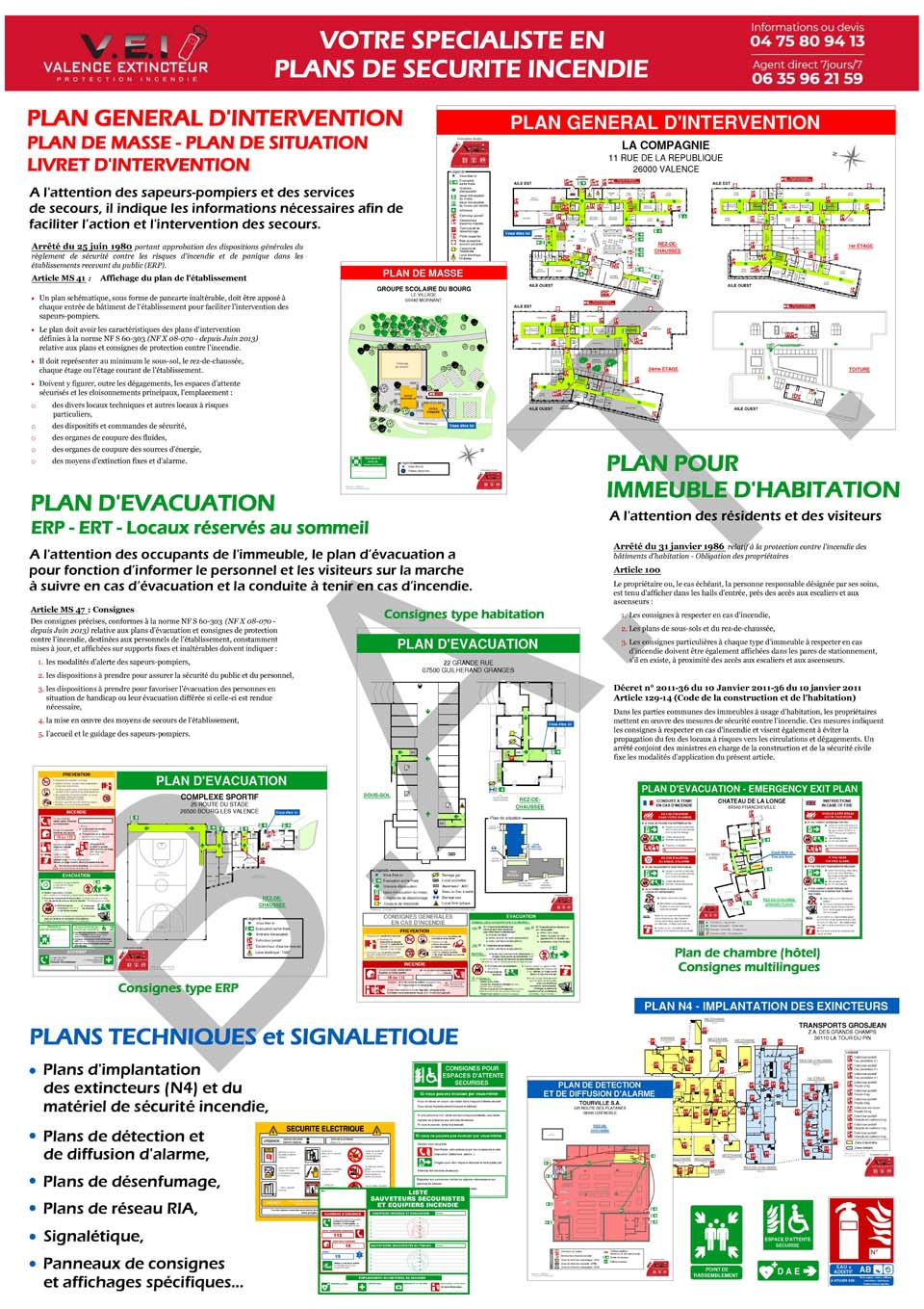 Exemples de Plans d'évacuation créés par Valence Extincteur Incendie